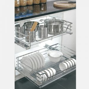 Giá xoong nồi bát đĩa nan dẹt đa năng inox 304 KIASO KG033